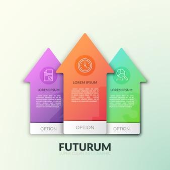 Tres flechas multicolores separadas que apuntan hacia arriba con números, pictogramas de línea delgada y lugar para el texto dentro. concepto de crecimiento y ascenso.