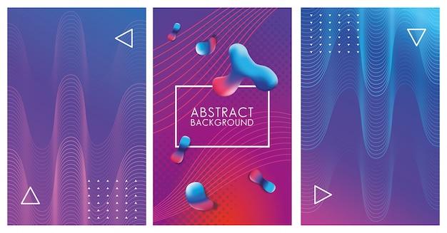Tres fondos abstractos coloridos geométricos