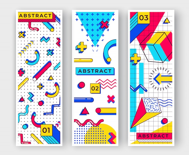 Tres fondos verticales de memphis. resumen elementos de las tendencias de los años 90 con formas geométricas simples multicolores. formas con triángulos, círculos, líneas.