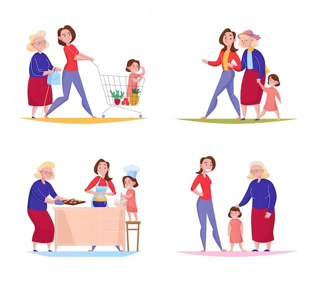 Tres generaciones de mujeres de la familia 4 diseños planos cuadrados con abuela madre niño compras caminando ilustración al aire libre