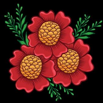Tres hermosas flores