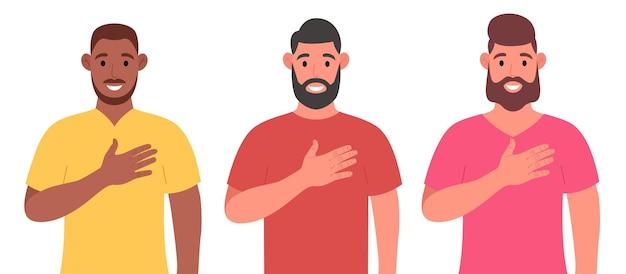 Tres hombres barbudos diferentes expresan sus sentimientos positivos a las personas, mantienen las manos en el pecho o el corazón. conjunto de caracteres. ilustración vectorial.