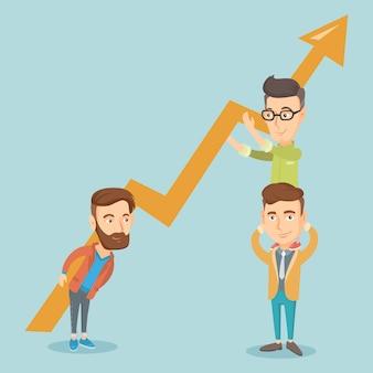 Tres hombres de negocios con gráfico de crecimiento.