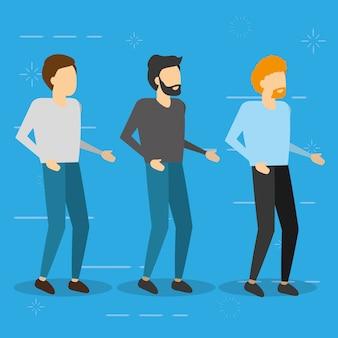 Tres hombres de pie, ilustración plana