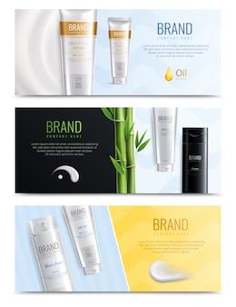 Tres horizontales realistas cosméticos frotis banner conjunto con lugar para titular y tubos de cosméticos ilustración vectorial