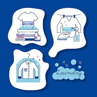 Tres iconos de conjunto de servicio de lavandería