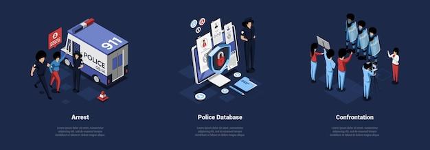 Tres ilustraciones de conceptos relacionados con la policía en estilo de dibujos animados 3d.
