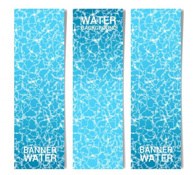 Tres ilustraciones verticales de la superficie del agua con burbujas de aire.