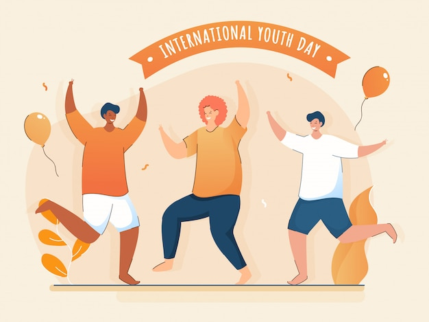 Tres jóvenes bailando junto con globos voladores y hojas sobre fondo melocotón para la celebración del día internacional de la juventud.