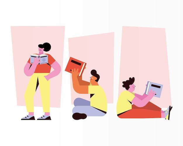 Tres lectores leyendo personajes de libros.