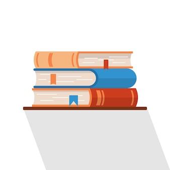 Tres libros planos aislados de vectores en el estante. icono o elemento de diseño para proyecto de estudio.