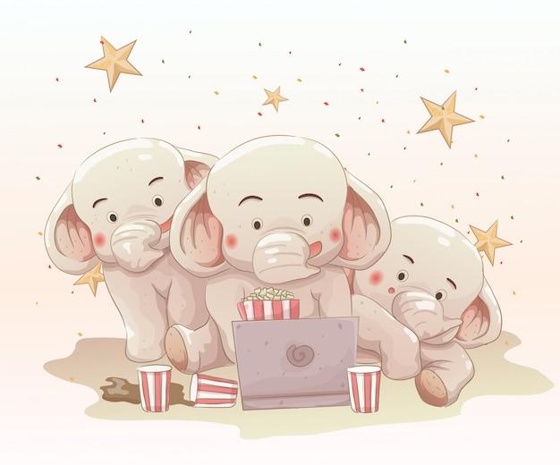Tres lindos elefantes viendo películas juntos en la computadora portátil. dibujado a mano de dibujos animados de vector