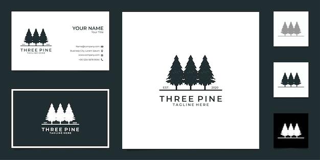 Tres logotipo retro negro pino y tarjeta de visita.