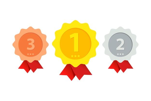 Tres lugares premiados de diferentes grados