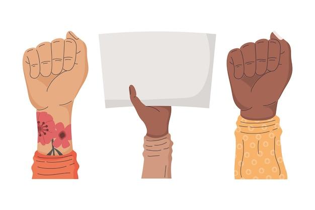 Tres manos de manifestantes interraciales