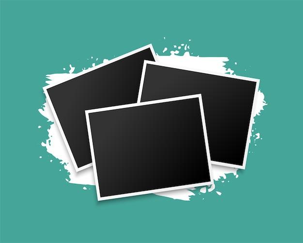 Tres marcos de fotos apilados en el diseño de fondo grunge