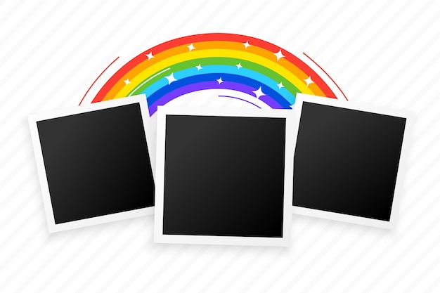Tres marcos de fotos con diseño de fondo de arco iris
