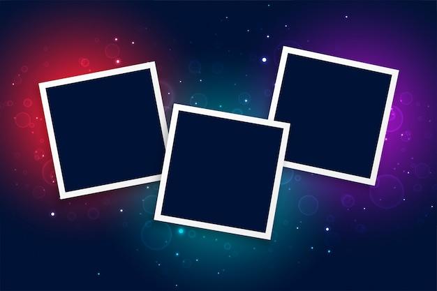 Tres marcos de fotos con fondo de efecto de luz brillante