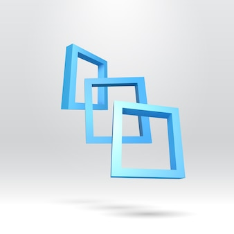 Tres marcos rectangulares azules