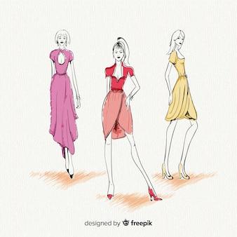 Tres mujeres modelos posando, ropa de moda, dibujado a mano