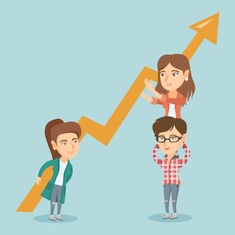 Tres mujeres de negocios jóvenes con gráfico de crecimiento.