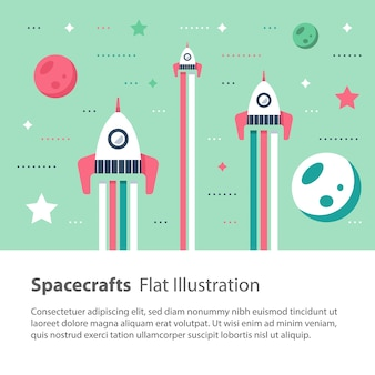 Tres naves espaciales volando en el espacio entre estrellas y planetas, carrera espacial, ilustración infantil