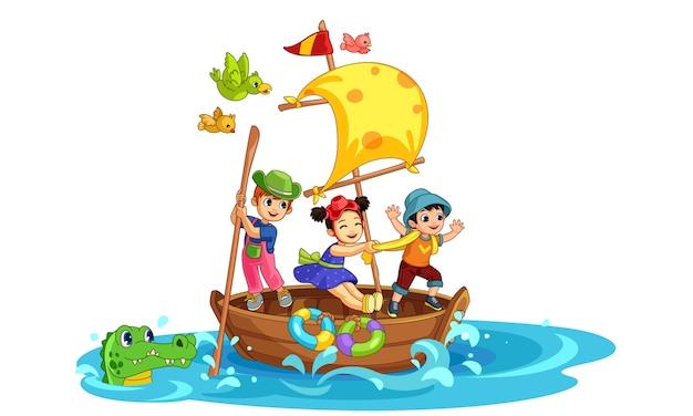 Tres niños divirtiéndose en el barco hermosa ilustración
