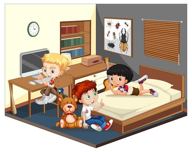 Tres niños en la escena del dormitorio sobre fondo blanco.