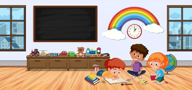 Tres niños en la habitación infantil jugando