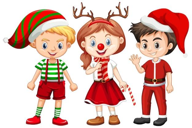 Tres niños en personaje de dibujos animados de traje de navidad