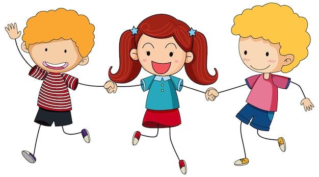Tres niños tomados de la mano de personaje de dibujos animados dibujados a mano estilo doodle aislado