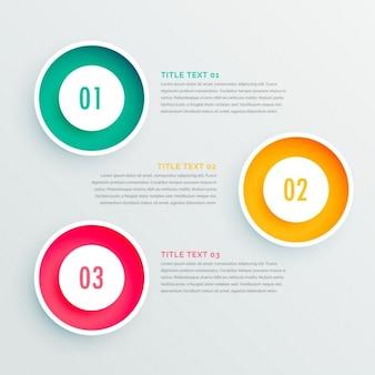Tres opciones circulares para infografías, colores vivos