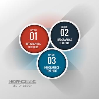 Tres opciones circulares para infografías