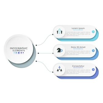 Tres opciones o características redondeadas de papel blanco conectadas al elemento circular principal por líneas. plantilla de diseño de infografía limpia. ilustración vectorial para visualización esquemática de 3 pasos del proyecto.