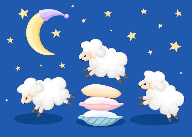Tres ovejas saltando sobre las almohadas tiempo de sueño cuentan ovejas de insomnio sobre un fondo azul con estrellas y la página del sitio web de ilustración de la luna y aplicación móvil