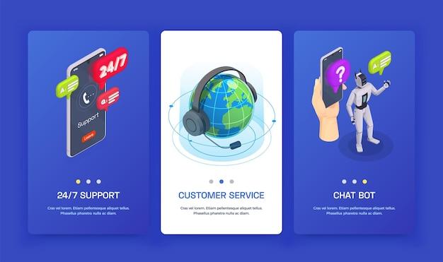 Tres pancartas isométricas de servicio al cliente verticales con bot de chat de servicio al cliente y soporte las 24 horas, los 7 días de la semana
