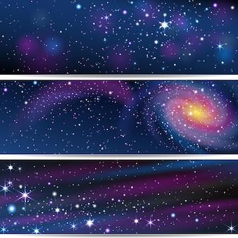 Tres pancartas con objetos espaciales.