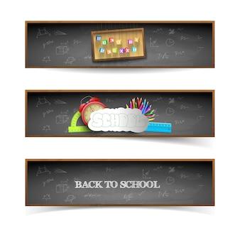 Tres pancartas de regreso a la escuela con pizarra.