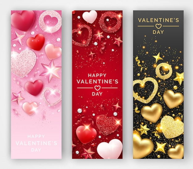 Tres pancartas verticales del día de san valentín con corazones brillantes, cintas, estrellas y bolas de colores.