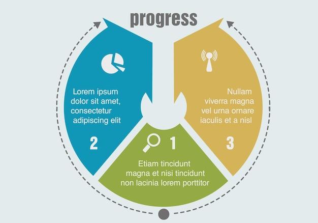 Tres pasos de progreso. ilustración