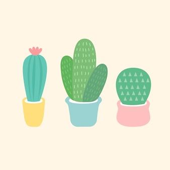 Tres pequeños vectores de cactus