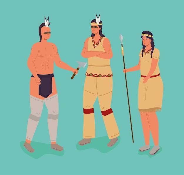 Tres personajes aborígenes.