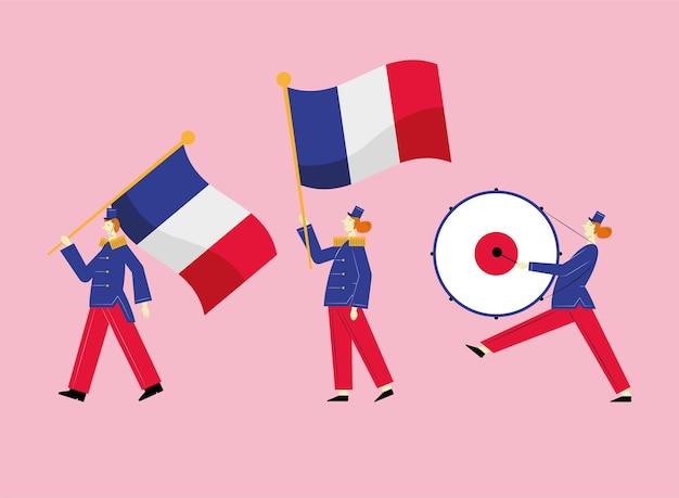 Tres personajes de la banda de marcha francesa.