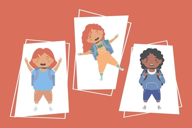Tres personajes de colegialas de regreso a la escuela.