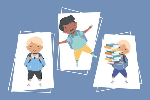 Tres personajes escolares de regreso a la escuela.