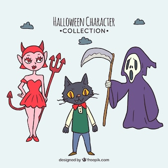 Tres personajes de halloween dibujados a mano