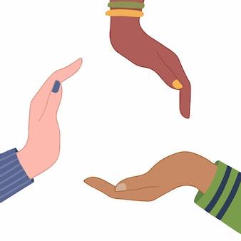 Tres personas con diferentes colores de piel hacen forma de círculo dibujado a mano amor plano vector ilustración