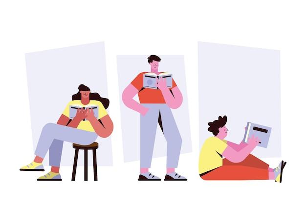 Tres personas leyendo personajes de libros.