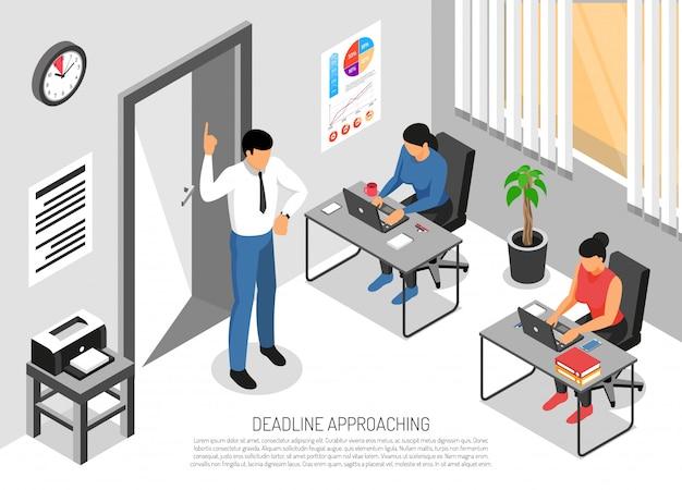 Tres personas que trabajan en la oficina antes de la fecha límite 3d