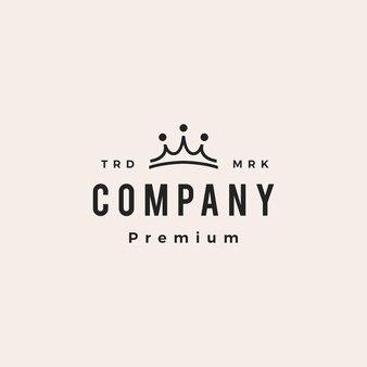 Tres personas, rey, corona, puente, equipo, grupo, de, 3, hipster, vendimia, logotipo, vector, icono, ilustración